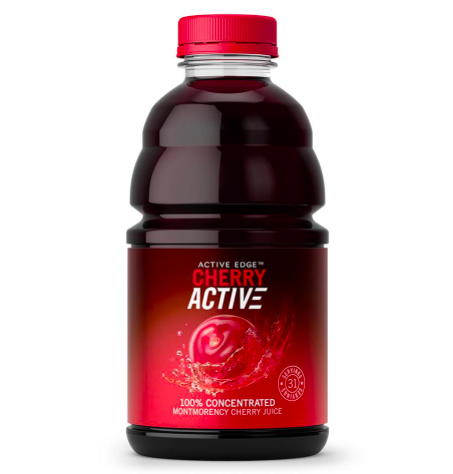 Bottle of cherry active supplement drink
