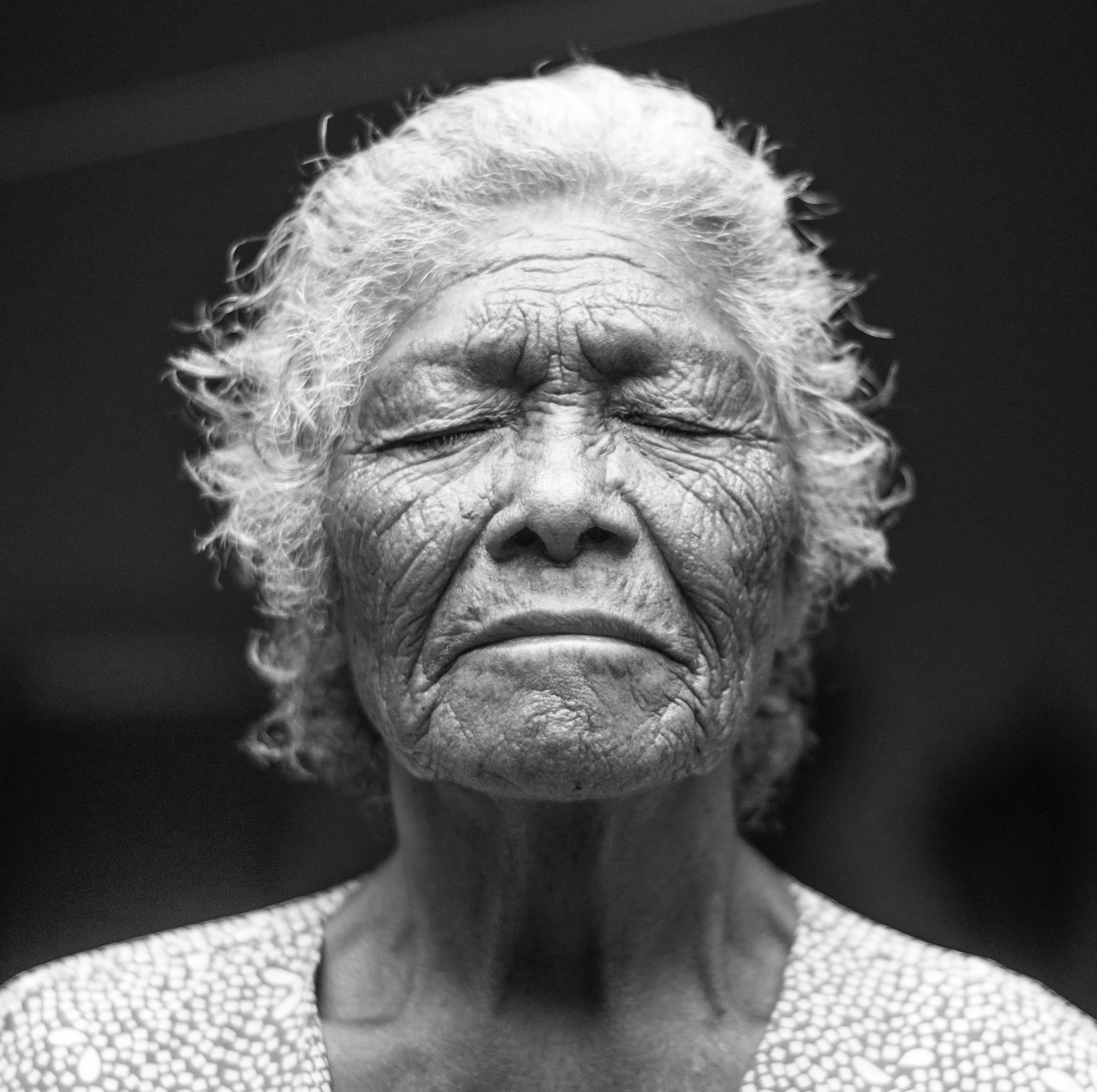 portrait of old grey haired lady