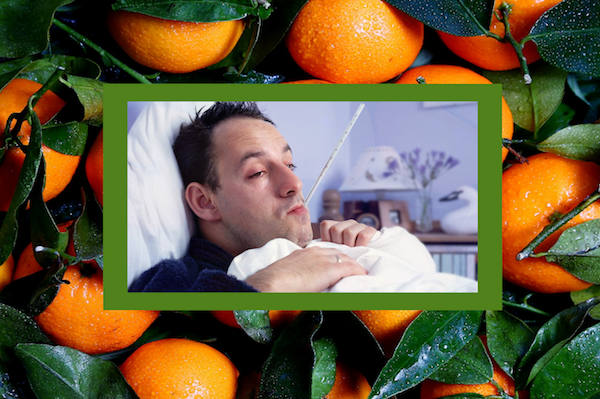 unwell man lying in bed
